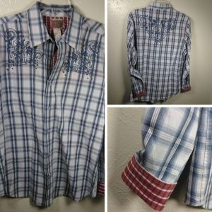 Vintage Red Plaid Button Embroidered Shirt SZ L